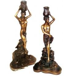 Bougeoire de table en bronze BRZ0981 ( H .46 Cm )