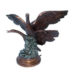 Bronze animalier : canard en bronze BRZ1094 ( H .53 x L .69 Cm ) Poids : 18 Kg