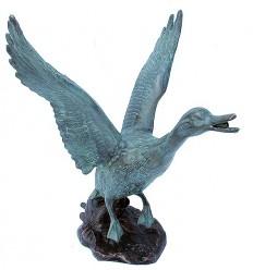 Bronze animalier : canard en bronze BRZ1096 ( H .33 x L .28 Cm ) Poids : 6 Kg