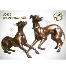 Bronze animalier : chien en bronze ad435-100 ( H .45 x L .50 Cm )