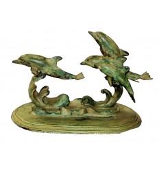 Bronze animalier : dauphin en bronze BRZ0373V ( H .20 x L .35 Cm ) Poids : 4 Kg