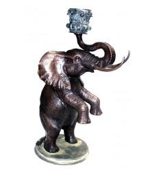 Bronze animalier : éléphant en bronze BRZ0788-VERRE ( H .81 x L .51 Cm )