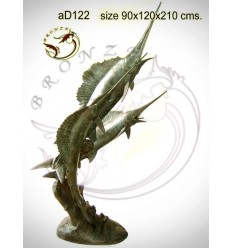 Bronze animalier : espadon en bronze ad122-100 ( H .210 x L .120 Cm )