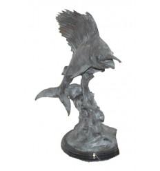 Bronze animalier : espadon en bronze BRZ0961V ( H .56 x L .63 Cm ) Poids : 8 Kg