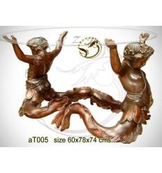 Table basse de salon en bronze at005-100 ( H .74 x L .78 Cm )