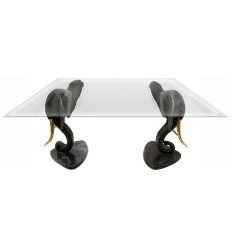 Table basse de salon en bronze BRZ0354 ( H .76 x L .87 Cm ) Poids : 65 Kg