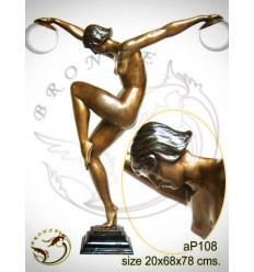 ( H .75 x L :55 Cm ) Lampe en bronze ap108-100