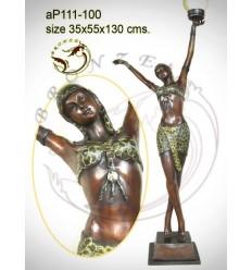 ( H .130 x L :55 Cm ) Lampe en bronze ap111-100
