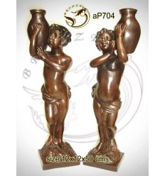 ( H .50 x L :12 Cm ) Lampe en bronze ap704-100