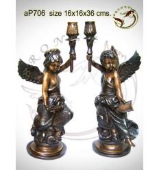 ( H .38 x L :20 Cm ) Lampe en bronze ap706-100
