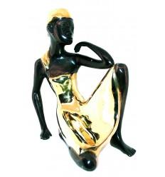 Sculpture africaine en bronze BRZ0009 ( H .35 x L :35 Cm ) Poids : 5 Kg