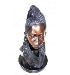 Sculpture africaine en bronze BRZ0409 ( H .63 x L :30 Cm ) Poids : 12 Kg