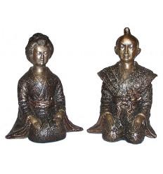 Couple de japonnais en bronze BRZ0041N-11 ( H .28 x L : Cm ) Poids : 8 Kg