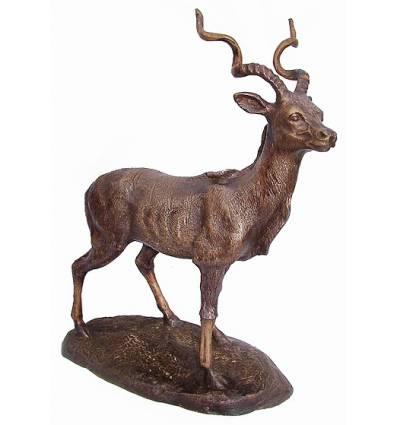 gazelle en bronze BRZ1433 ( H .33 x L .28 Cm ) Poids : 0,5 Kg