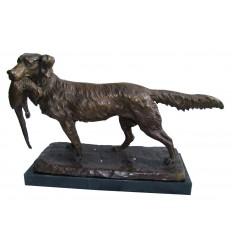Chien en bronze BRZ1321 / SM439 (H. 28 x L. 45 Cm) - Poids : 11 Kg