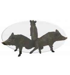 Table Basse de salon en bronze Sangliers Réf : BRZ1773