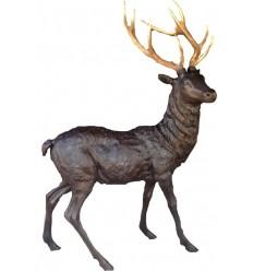 cerf en bronze et bois véritable brz1294-C-BOIS (H 215 L 165) Poids 98 kgs