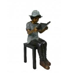 Sculpture enfant sur tabouret en bronze Réf : BRZ1311TAB