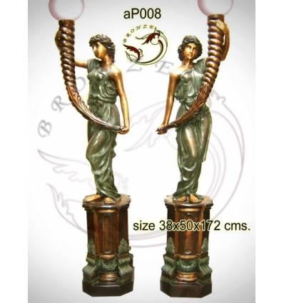 Lampadaire de jardin en bronze ap008-100