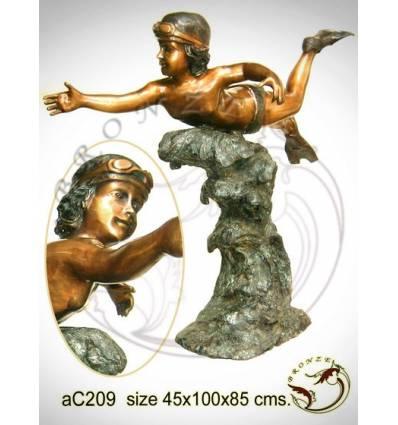 Sculpture bronze enfant ac209-100
