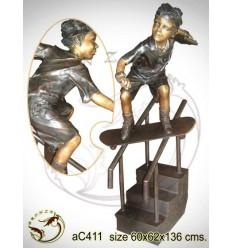 Sculpture bronze enfant ac411-100