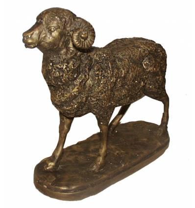Bronze animalier : bélier en bronze BRZ0371 ( H .20 x L .22 Cm ) Poids : 3 Kg