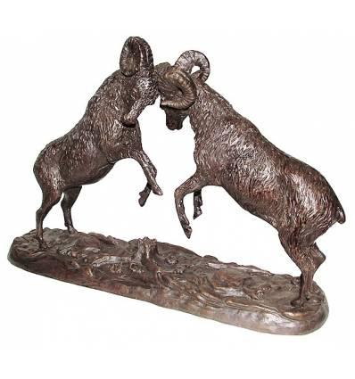 Bronze animalier : bélier en bronze BRZ1382 ( H .30 x L .48 Cm ) Poids : 7 Kg
