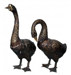 Bronze animalier : canard en bronze BRZ0082M ( H .68 x L .40 Cm ) Poids : 20 Kg
