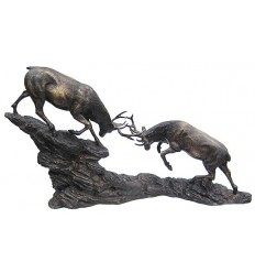 Bronze animalier : cerf en bronze BRZ0879 ( H .28 x L .51 Cm ) Poids : 12 Kg