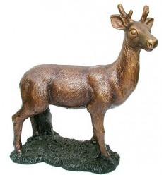 Bronze animalier : cerf en bronze BRZ1326  ( H .30 x L .28 Cm )  Poids : 4 Kg