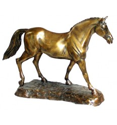 Bronze animalier : cheval en bronze BRZ0852  ( H .46 x L .69 Cm )  Poids : 12 Kg