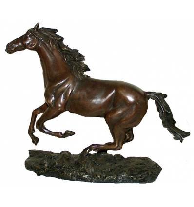 Bronze animalier : cheval en bronze BRZ0898  ( H .30 x L .38 Cm )