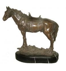 cheval en bronze BRZ1076/SM244  ( H .25 x L :28 Cm )
