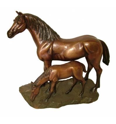 Bronze animalier : cheval en bronze BRZ1144 ( H .31 x L .35 Cm )