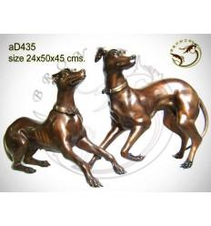 chien en bronze ad435-100  ( H .45 x L .50 Cm )