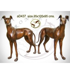 Bronze animalier : chien en bronze ad437-100  ( H .95 x L .105 Cm )