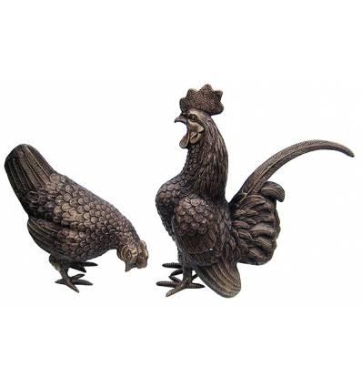 Bronze animalier : coq en bronze BRZ0626  ( H .25 x L . Cm )  Poids : 5 Kg