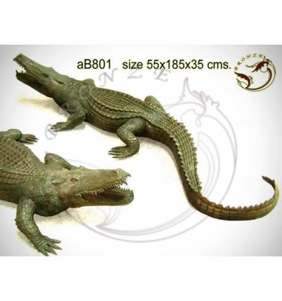 Bronze animalier : crocodile en bronze ab801-100 ( H .35 x L .190 Cm )