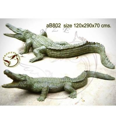 Bronze animalier : crocodile en bronze ab802-100  ( H .70 x L .290 Cm )