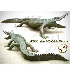 crocodile en bronze ab803-100 ( H .80 x L .390 Cm )