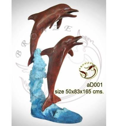 Bronze animalier : dauphin en bronze ad001-100 ( H .165 x L .83 Cm )