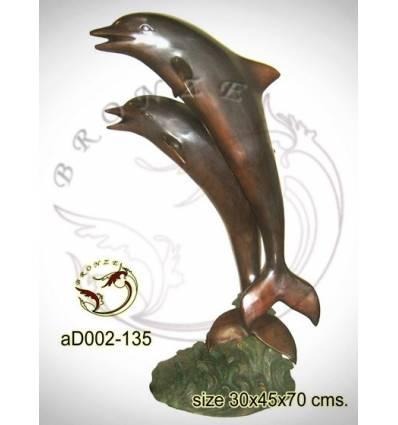 Bronze animalier : dauphin en bronze ad002-135 ( H .96 x L .65 Cm )