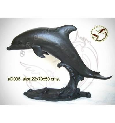 Bronze animalier : dauphin en bronze ad006-100 ( H .50 x L .70 Cm )