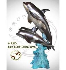 Bronze animalier : dauphin en bronze ad065-100 ( H .190 x L .110 Cm )