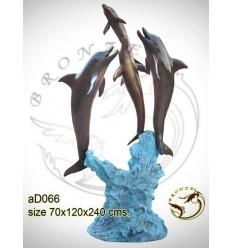 Bronze animalier : dauphin en bronze ad066-100 ( H .240 x L .120 Cm )