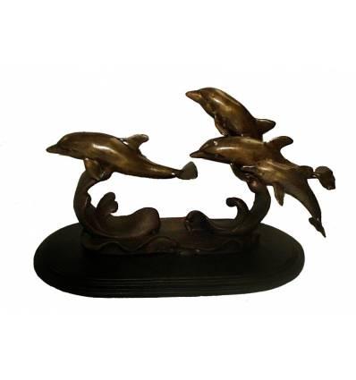 Bronze animalier : dauphin en bronze BRZ0373  ( H .20 x L .35 Cm )  Poids : 4 Kg