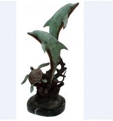 Bronze animalier : dauphin en bronze BRZ1220 ( H .86 x L .51 Cm ) Poids : 20 Kg