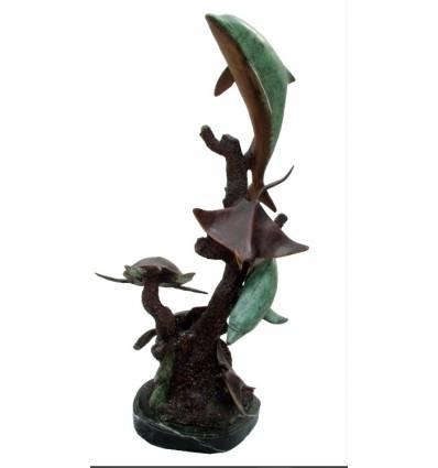 Bronze animalier : dauphin en bronze BRZ1221  ( H .94 x L .38 Cm )  Poids : 21 Kg