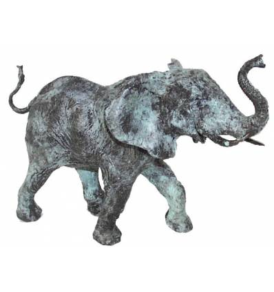 Bronze animalier : éléphant en bronze BRZ0905V ( H .23 x L .33 Cm ) Poids : 4 Kg