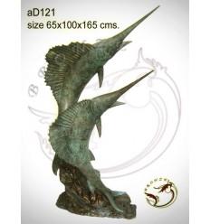 Bronze animalier : espadon en bronze ad121-100 ( H .165 x L .100 Cm )